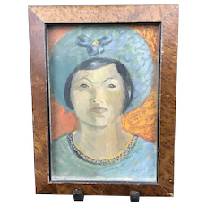 Oregon Artist CHARLES HEANEY Casein Portrait Painting of Woman
