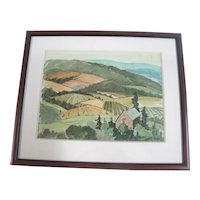 Percy Manser DUKES VALLEY Original Signed Watercolor Farmland Landscape Painting