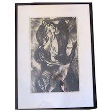 LaVon Salmela Lucas CHAIN REACTION Signed 1948 Framed Lithograph