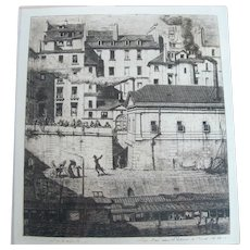 Charles Meryon Framed French LA MORGUE Paris Dry 1854 Etching IV//VII