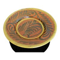 Brightly Colored Glazed Earthenware Guatemalan Bowl with Fern Design
