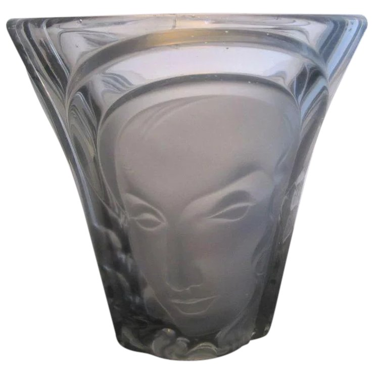 Molded Art Deco Glass Three Faces Vase By Walther Sohne Germany