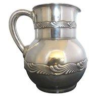 Tiffany & Co John C. Moore (1907-1947) Sterling Silver Wave Edge Pattern Water Pitcher Jug