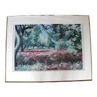 Poppies in Olive Grove Original Framed Impressionist Painting by Oregon Artist Sidonie Caron
