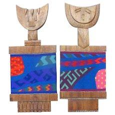 Original Carved Wood & Woven Sculpture by Monica Setziol Phillips KING & QUEEN