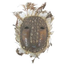 Small AFRICAN Ivory Coast TURTLE Shell Mask w/Cowrie Shells & Feathers