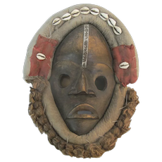Vintage Carved Wood AFRICAN Cowrie Shell Woven Mud Cloth MASK
