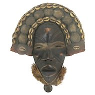 "Carved Wood AFRICAN Cowrie Shell Mud Cloth 13"" Mask w/Grass & BELL at Chin"