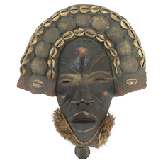 """Carved Wood AFRICAN Cowrie Shell Mud Cloth 13"""" Mask w/Grass & BELL at Chin"""