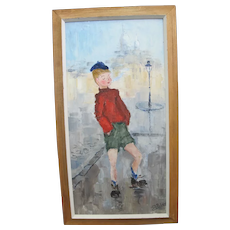 Signed J ROBERT Framed Original Painting Young Blonde BOY in Paris SMOKING