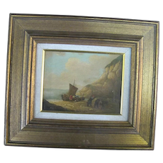 Small Antique Fine GERMAN Oil Painting of FISHERMEN Gold Gilt Frame