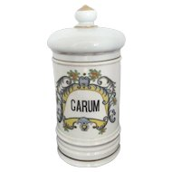 """Vintage APOTHECARY French Porcelain 10"""" Hand Painted CARUM Jar Canister"""