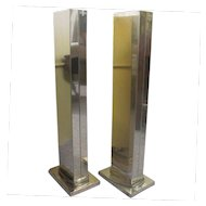 Set of 2 Mirror Brass CASELLA Lighting Mid Century Mod TORCHIERE Floor Lamps