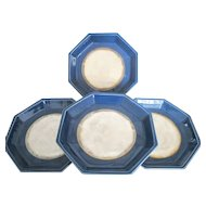 Beautiful Cereulean Blue & Mother of Pearl Signed Octagonal 4pc Asian Plate Set