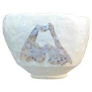 Vintage Signed JAPANESE Studio Pottery Textured Bowl Vase w/Wood Box