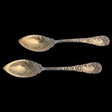 DURGIN Antique Sterling Silver Chrysanthemum Pattern Citrus Fruit Spoon Set