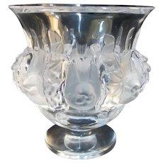 "LALIQUE France Clear & Frosted Crystal Glass DAMPIERRE 4.75"" Bird & Vine Vase"