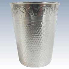 """Sterling Silver by Webster """"Only a Thimble Full"""" Novelty Liquor Shot Bar Glass"""