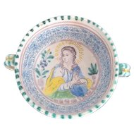 Antique Mother Mary Madonna Spiritual Religious Faience Pottery Bowl w/Handles