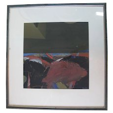 James D ROBERTSON Signed Framed Gouache Abstract Ocean Painting DISTANT SEA