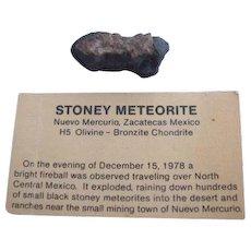 Stoney Nuevo Merurio Meteorite Mexico H5 Olivine Bronzite Chondrite 12g