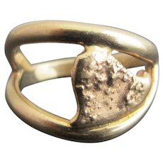 UNIQUE Vintage 14k Yellow Gold Nugget ABSTRACT HEART Modernist Ring