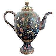 Late Meiji Era Japanese Cloisonne Small Butterfly Blossom Enamel Teapot