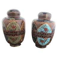 Early Japanese Meiji Era Set of Cloisonne Mica & Enamel Blossom Jars w/Lids