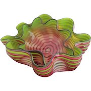 DALE CHIHULY Signed Dated 2pc Royal RASPBERRY Seaform Modern Art Glass Sculpture