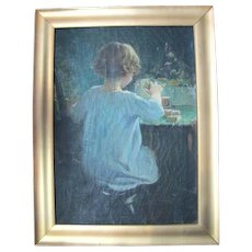 Original Anna Milo Upjohn Oil Painting Portrait of Child Playing w/Blocks