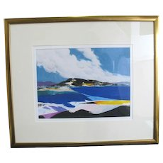 DONALD Hamilton FRASER Signed Mountain Landscape Oil Painting Black Foreground