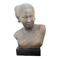 BRONZE Sculpture of Burmese Thai WOMAN Female Bust Intricately Detailed