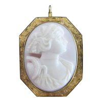 Victorian Pink Carved Shell Cameo Silhouette Gold Filled Pendant or Brooch Pin