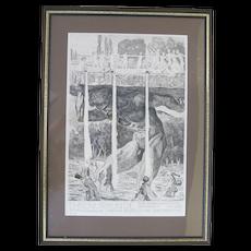 MAX KLINGER Black & White 1912 Lithograph Poster GERMAN Ehrenurkunde