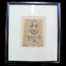 Johnny FRIEDLAENDER Signed Framed Engraving of Birds & Flowers Abstract Art