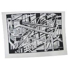 Gordon Gilkey Modern Art B&W Signed Etching of Portland OR AS the PEARL GROWS