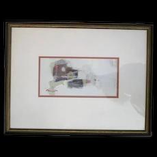 Kenyu MORIYASU Framed Signed Abstract Oil Painting Titled TALES of GENJI