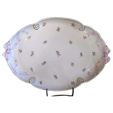 HEREND Porcelain KIMBERLY Floral Serving Tray PLATTER Dish w/BOW Handles