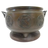 Large CHINESE Bronze BIRD Medallion Pot Jardiniere w/DOLPHIN Handles Wood Stand