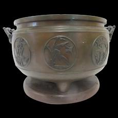 Large CHINESE Bronze BIRD Medallion Pot Jardiniere w/DOLPHIN Handles Wood Stand