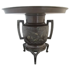 "BRONZE Japanese IKEBANA Vase with high relief KOI FISH & Bird Design 9.25"" Tall"
