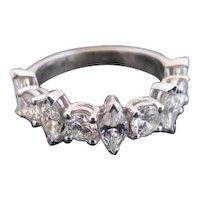 14k White Gold MARQUISE & Round Cut Diamond ANNIVERSARY Wedding Engagement Ring