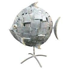 Large BRONZE Metal Patchwork Design FISH Statue Sculpture