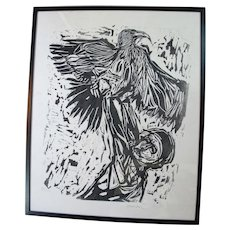 Susan WINICOUR Black & White EAGLE Falcon FALCONER Signed Framed Etching