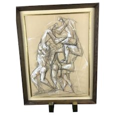 PARALLELOGRAM Signed Vintage Gesture Charcoal Figural Chalk Drawing BAYERN 1969