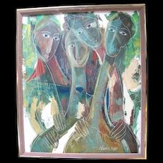 Signed HAMILTON Original Modern Art Oil Painting 4 FEMALE FIGURES Embracing