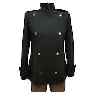 Vintage DOLCE & GABBANA Black Virgin Wool Military Style Blazer Jacket w/Leopard Print Lining