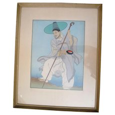 Signed PAUL JACOULET Japanese Woodblock Framed Print Wandering Buddhist Priest
