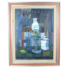Attributed to Mario BUCCI Italian Modernist STILL LIFE Lamp Painting