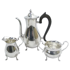 Vintage GEORGIAN Style STERLING Silver Coffee Pot Creamer Sugar Service Set of 3